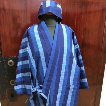 会津木綿の作務衣と帽子