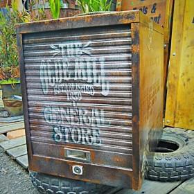 シャビー マテリアル/ シャッター式(スチール棚) 書類(5)キャビネット #アメリカン #書類入れ #小物入れ #スチールボックス #整理箱
