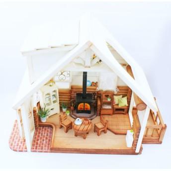 ミニチュアハウス/ウッドデッキのあるログハウス(送料無料)