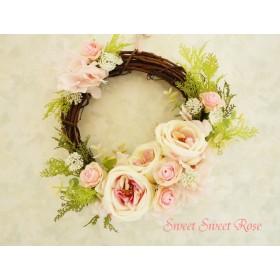 春色リース ~薔薇とグリーンのスウィートリース~