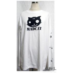 (S~XL)プリント長袖Tシャツ「MADCAT」黒猫(1-146)
