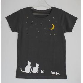 お月見 Tシャツ【L】猫が好き 【ブラック】