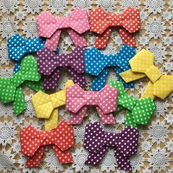 折り紙 リボン 大 水ハート お花柄 壁面飾り