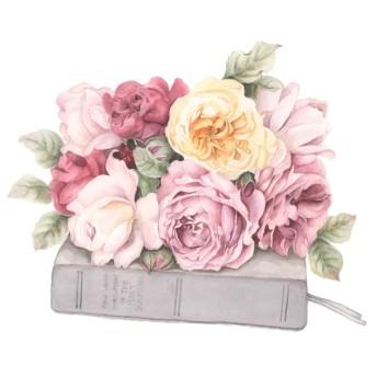 花も素敵な、貴重なものの上のイングリシュローズ アートプリント(複製画)A026