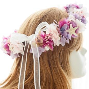花冠☆花かんむり☆花かん ~ピンク☆パープル☆ヒトデ☆パール~ 髪飾り☆ヘッドドレス☆ブライダル☆ウェディング☆結婚式