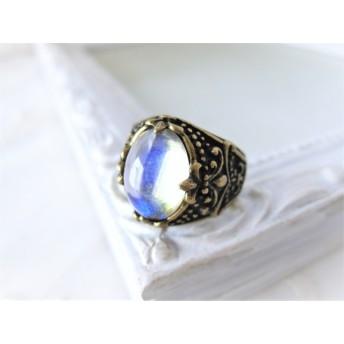 vintage ライトイエロー 百合の紋章の指輪 ヴィンテージ