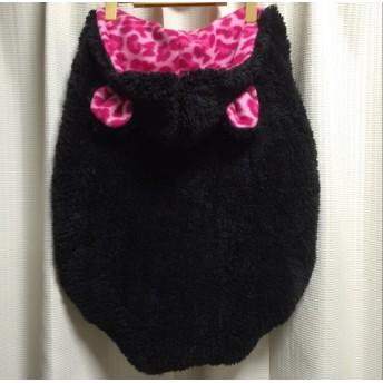 ブラック☆ピンクレオパード 完成品! 抱っこ紐、ベビーカー防寒ケープ かわいいくま耳
