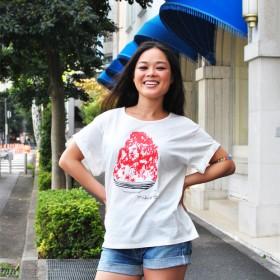 かき氷ゆるふわレディースTシャツ Ichigo White