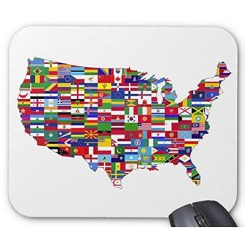 世界各地の国旗で作ったアメリカの地図のマウスパッド:フォトパッド( 世界の地図シリーズ ) (D)