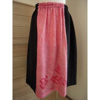 セール!着物リメイク 鹿の子絞りのギャザースカート
