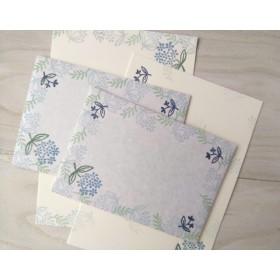 消しゴム版画「レターセット*小さな花とリーフ(ブルー)*」