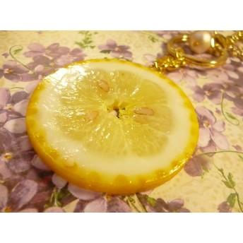 限定スライスレモンとコットンパールのバッグチャーム20cm