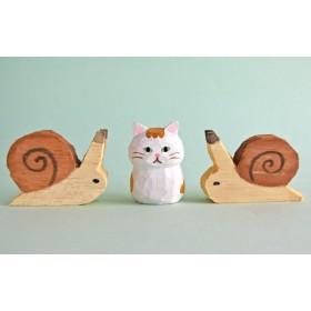 木彫り人形ねこ 金ねこちゃん 3センチ幅 [MWF-346]