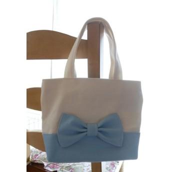 おリボン ミニトートバッグ(白、水色)