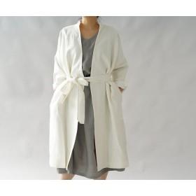 【wafu+】裏地付 暖リネンスタンドカラーコート ガウンコート /ホワイト h024b-wht3
