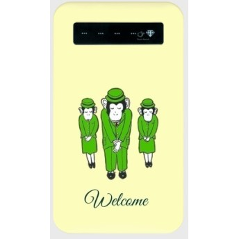 送料無料【モバイルバッテリー お猿の デパート 店員さん いらっしゃいませ。グリーン】