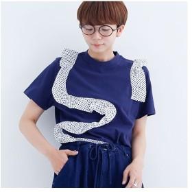 [マルイ] ドットフリルラインTシャツ/メルロー(merlot)