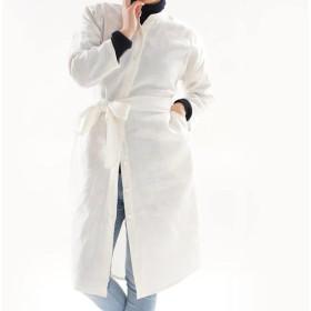 【wafu】中厚 リネンワンピース 羽織 2WAY 前開き スタンドカラー シャツ ドレス / ホワイト h028a-wht2
