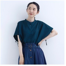 [マルイ] リネン混サイドリボンシャツ7707/メルロー(merlot)