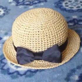 ベビーサイズ 大きなリボンの麦わら帽子