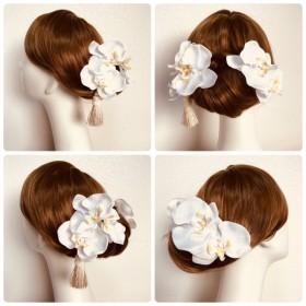 白無垢に 純白の胡蝶蘭(L)とタッセルの和装髪飾り(6点セット) 和装婚 結婚式 神前式 色打掛 白 白無垢 コチョウラン