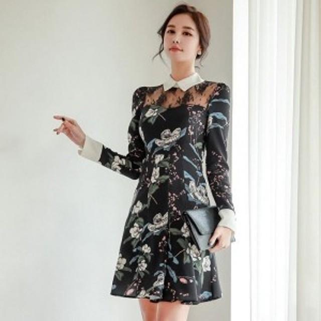 韓国ドレス 通販 韓国ワンピース 花柄 スリム タイト Aライン 40代 30代 20代 50代 結婚式 二次会 食事会 発表会 お呼ばれ