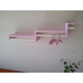 アンティーク風壁掛けハンガーラック 薄いピンク 杉のカラーハンガー 15本付
