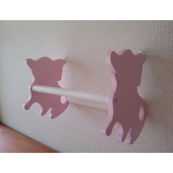 チワワちゃん壁掛けハンガーラック ハンガー3本付 薄いピンク