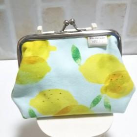 新色 レモン柄 がま口財布 小銭入れ