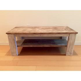 木製ローテーブル ウォルナット シャビー