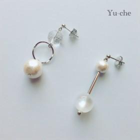 pearl & silver アシンメトリーピアス/イヤリング