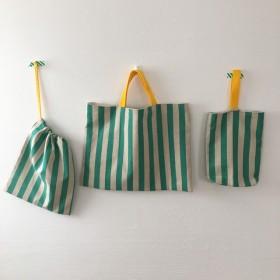 【再販】入園・入学準備 3点セット(ストライプグリーン)