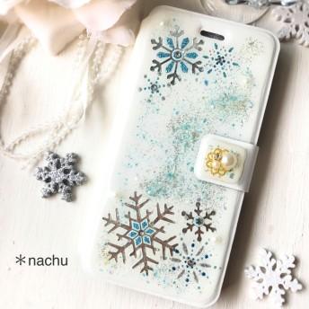 SALE 冬の贈り物*雪の結晶iPhone6.6s手帳型ケース