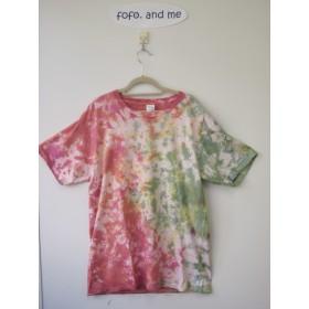 タイダイ染め 赤・緑・イエローのマダラ模様のTシャツ 男女兼用L