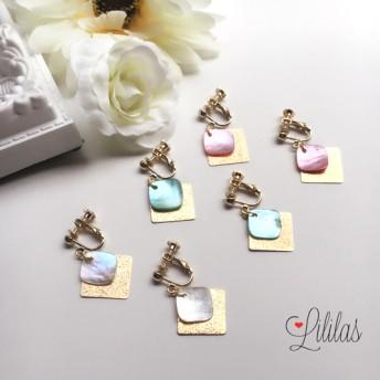 シェルゴールドスクエアpierce・earring