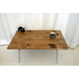 【幅70cm x 奥行44 cm】 折りたたみ カフェ風ローテーブル /無垢材/ミニ/子供用
