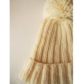 kids ボンボンニット帽 (ホワイト)