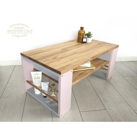 マガジンラック木製ローテーブル《pink》