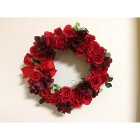 No. wreath-14503/★ギフト/花/玄関リース★/アートフラワー/春/バレンタインデー/レッドローズ・リング直径28cm
