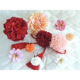 ふわふわ可愛いまるでお花畑のような髪飾り