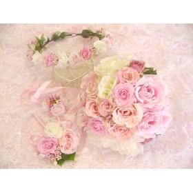 花冠・ブーケ・リストレット・ブートニア 4点セット ピンク