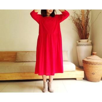 コットン素材7分袖ロングプリ―ツワンピース♪赤