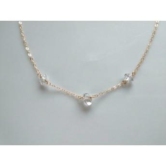 ハーキマーダイヤモンドのチョーカーネックレス(14kgf)
