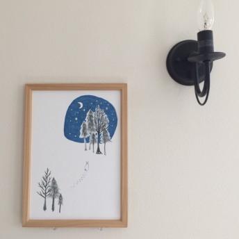 冬の森。北欧風インテリアポスター