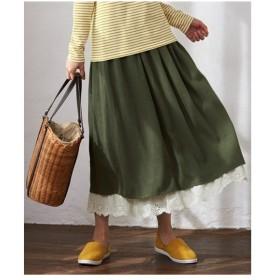 スカート ロング丈 マキシ丈 大きいサイズ レディース 裾レース ロング  L〜10L ニッセン