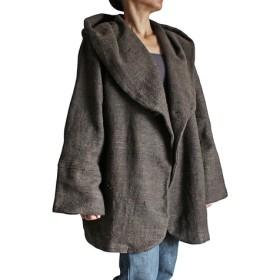 ざっくりジョムトンフード付きデザインジャケット こげ茶(JFS-023-03)