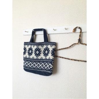 手編みのモチーフハンドバッグ♪ネイビー北欧