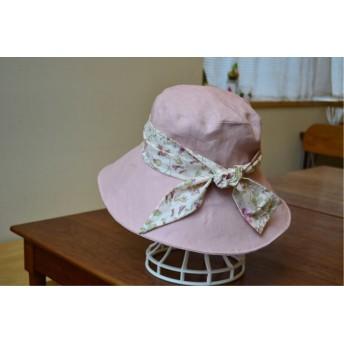 リネン リバティガーデン いちごみるく 帽子 57〜59cm