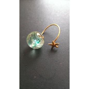 琉球ガラスと 星のワイヤーリング