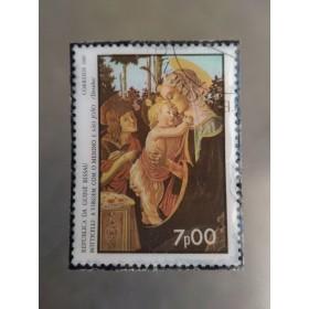 聖母と幼子と若い聖ジャン・バプティスト・名画切手ブローチ (ギニア ビサウ)